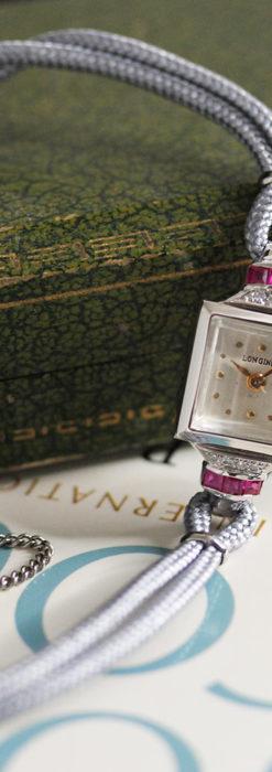 ロンジン 金無垢女性用アンティーク腕時計 ルビーとダイヤ装飾 【1943年製】-W1474-11