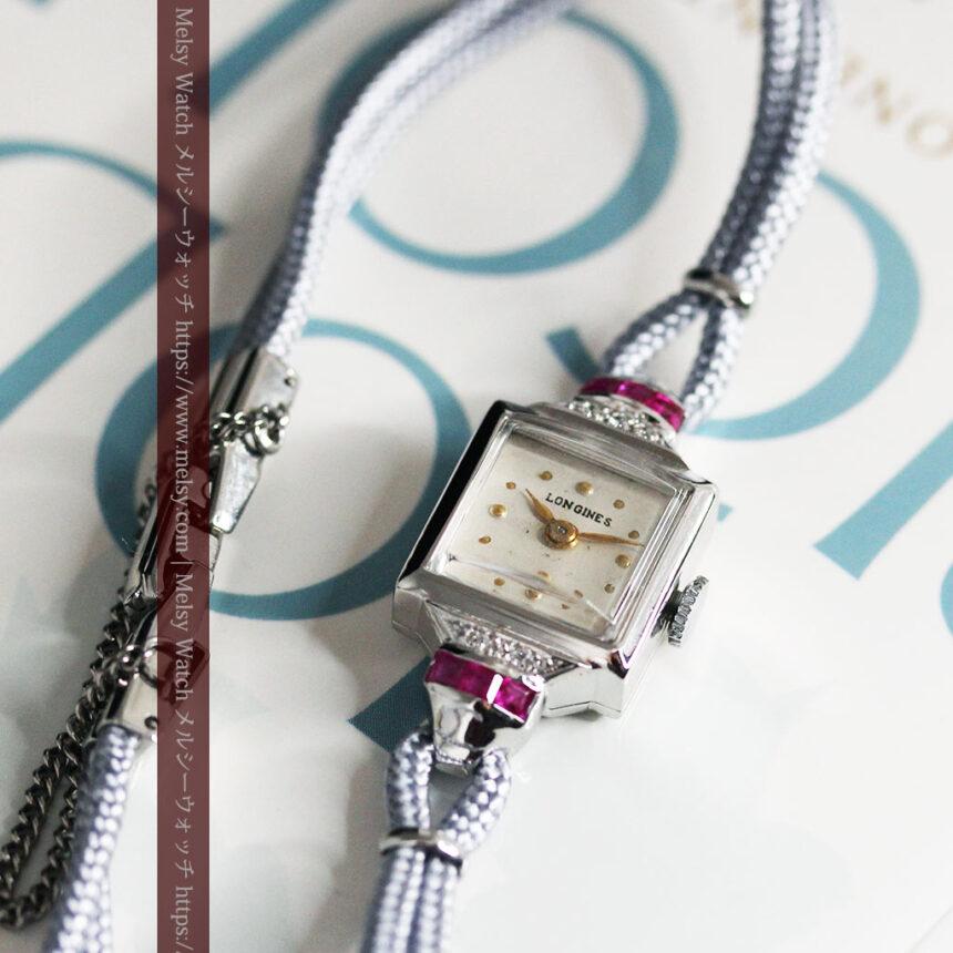 ロンジン 金無垢女性用アンティーク腕時計 ルビーとダイヤ装飾 【1943年製】-W1474-12