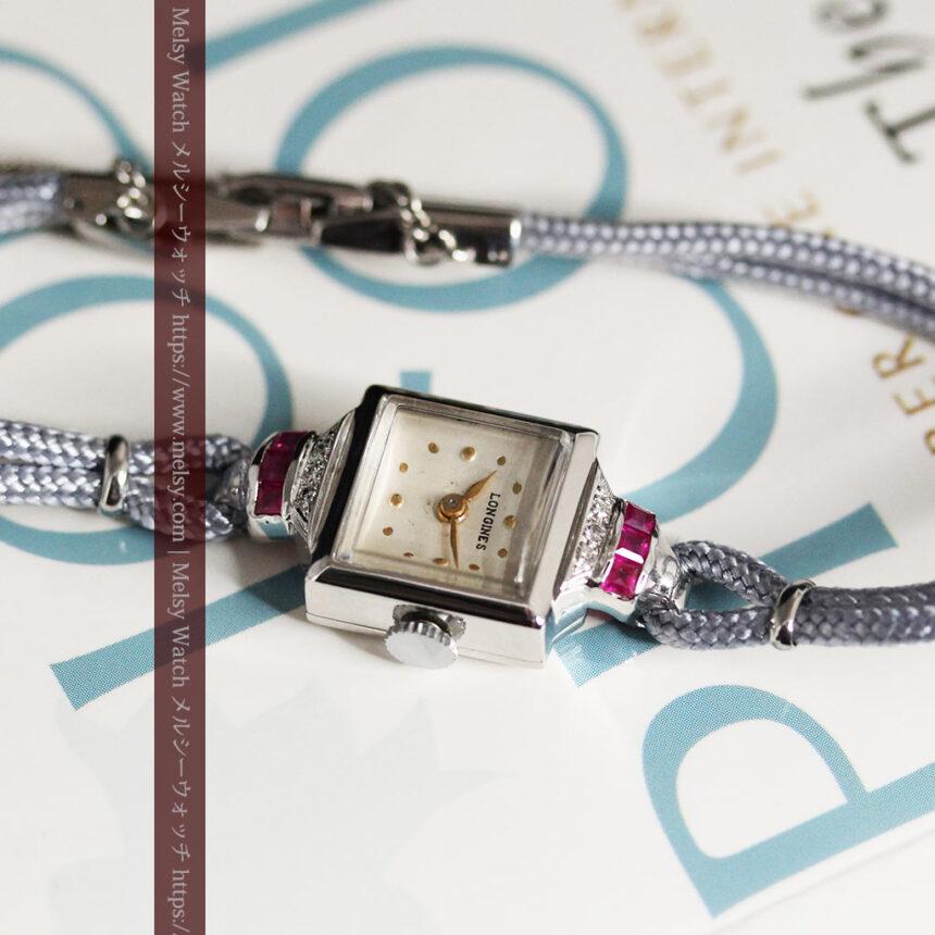 ロンジン 金無垢女性用アンティーク腕時計 ルビーとダイヤ装飾 【1943年製】-W1474-13