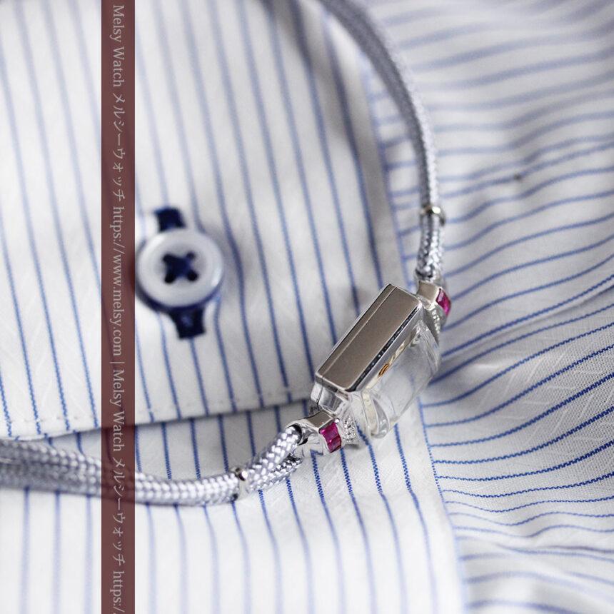 ロンジン 金無垢女性用アンティーク腕時計 ルビーとダイヤ装飾 【1943年製】-W1474-14