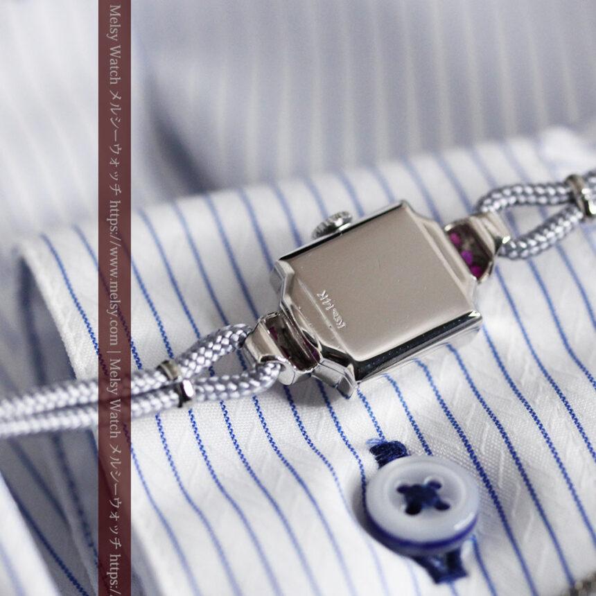 ロンジン 金無垢女性用アンティーク腕時計 ルビーとダイヤ装飾 【1943年製】-W1474-15