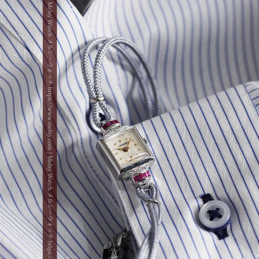 ロンジン 金無垢女性用アンティーク腕時計 ルビーとダイヤ装飾 【1943年製】-W1474-2