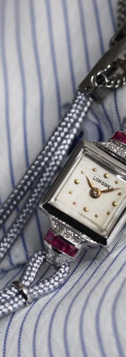 ロンジン 金無垢女性用アンティーク腕時計 ルビーとダイヤ装飾 【1943年製】-W1474-3