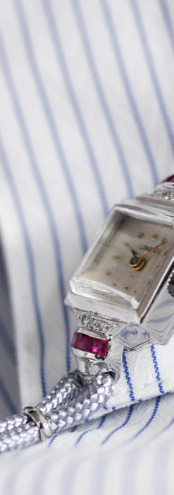ロンジン 金無垢女性用アンティーク腕時計 ルビーとダイヤ装飾 【1943年製】-W1474-4