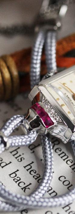 ロンジン 金無垢女性用アンティーク腕時計 ルビーとダイヤ装飾 【1943年製】-W1474-5