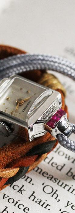ロンジン 金無垢女性用アンティーク腕時計 ルビーとダイヤ装飾 【1943年製】-W1474-6