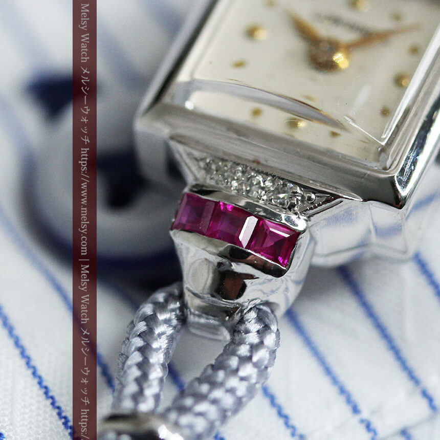 ロンジン 金無垢女性用アンティーク腕時計 ルビーとダイヤ装飾 【1943年製】-W1474-7