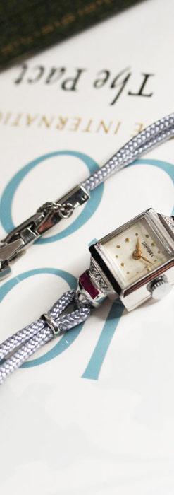 ロンジン 金無垢女性用アンティーク腕時計 ルビーとダイヤ装飾 【1943年製】-W1474-8