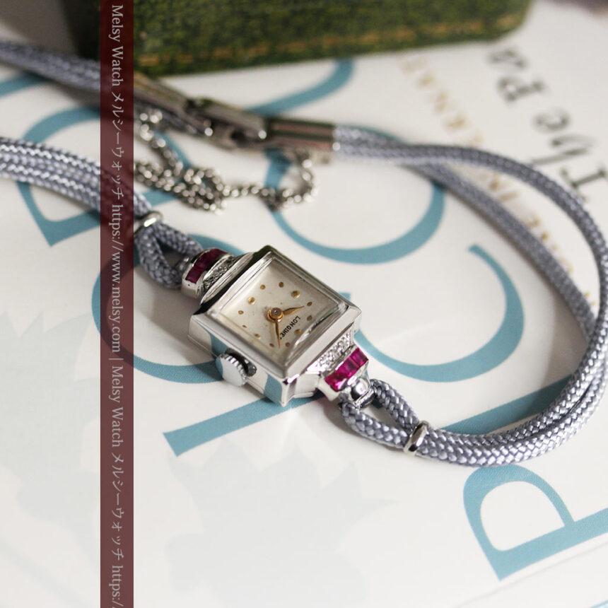 ロンジン 金無垢女性用アンティーク腕時計 ルビーとダイヤ装飾 【1943年製】-W1474-9
