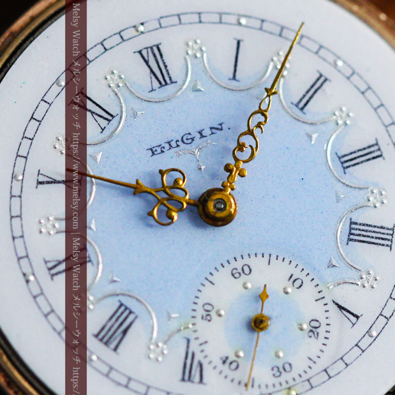 エルジン アンティーク腕時計 趣き深い青と銀の文字盤 【1904年製】-W1475-1