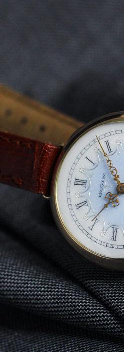 エルジン アンティーク腕時計 趣き深い青と銀の文字盤 【1904年製】-W1475-11