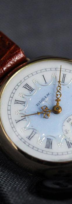 エルジン アンティーク腕時計 趣き深い青と銀の文字盤 【1904年製】-W1475-12