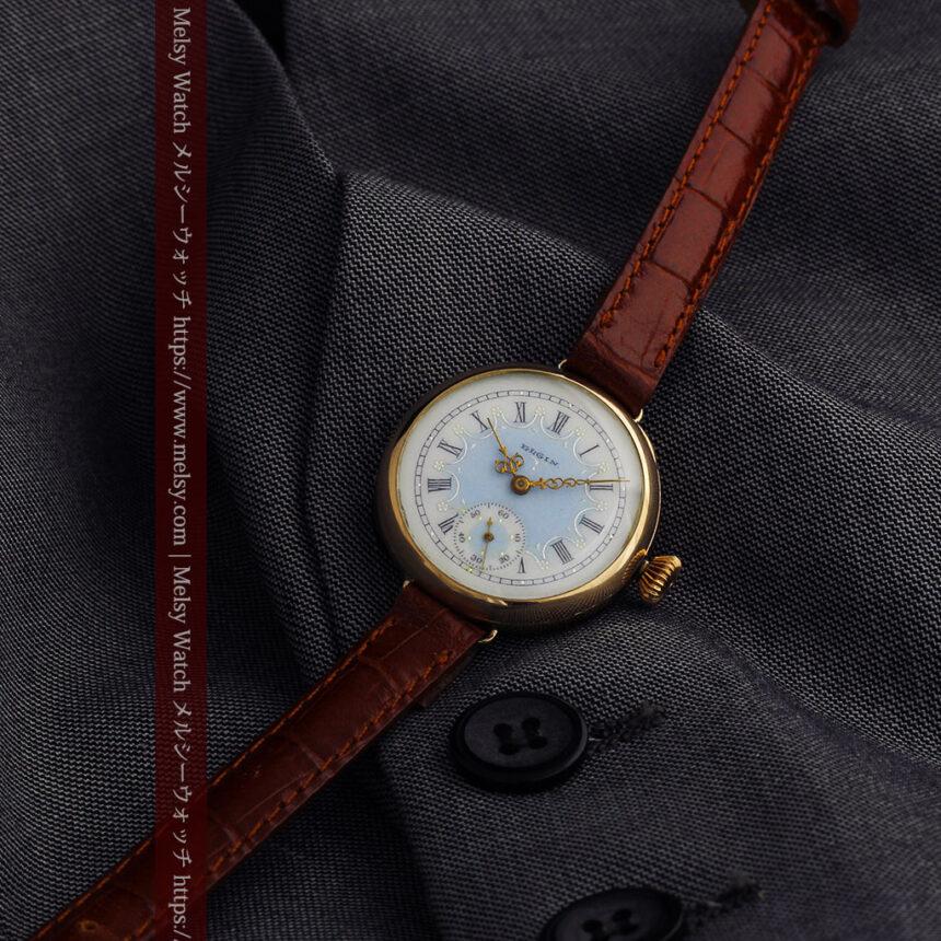 エルジン アンティーク腕時計 趣き深い青と銀の文字盤 【1904年製】-W1475-13