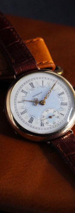 エルジン アンティーク腕時計 趣き深い青と銀の文字盤 【1904年製】-W1475-14