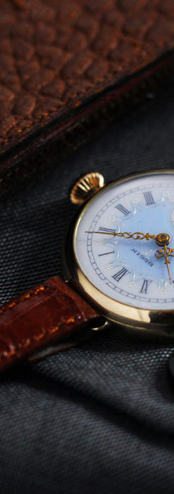 エルジン アンティーク腕時計 趣き深い青と銀の文字盤 【1904年製】-W1475-17