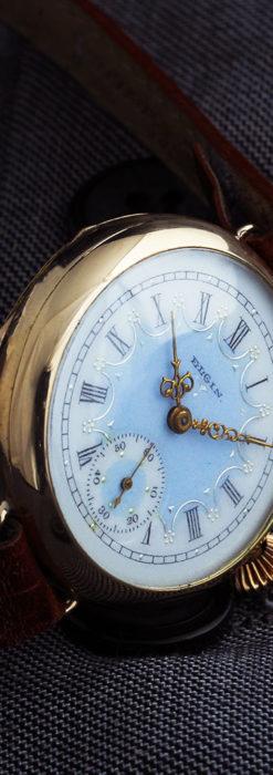 エルジン アンティーク腕時計 趣き深い青と銀の文字盤 【1904年製】-W1475-2