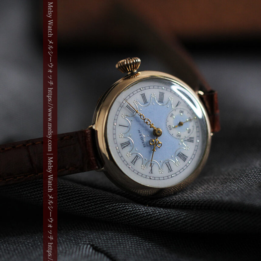 エルジン アンティーク腕時計 趣き深い青と銀の文字盤 【1904年製】-W1475-3
