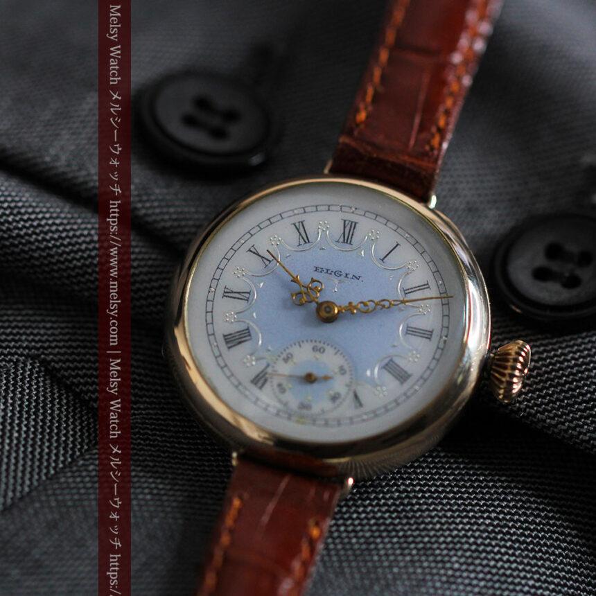 エルジン アンティーク腕時計 趣き深い青と銀の文字盤 【1904年製】-W1475-4