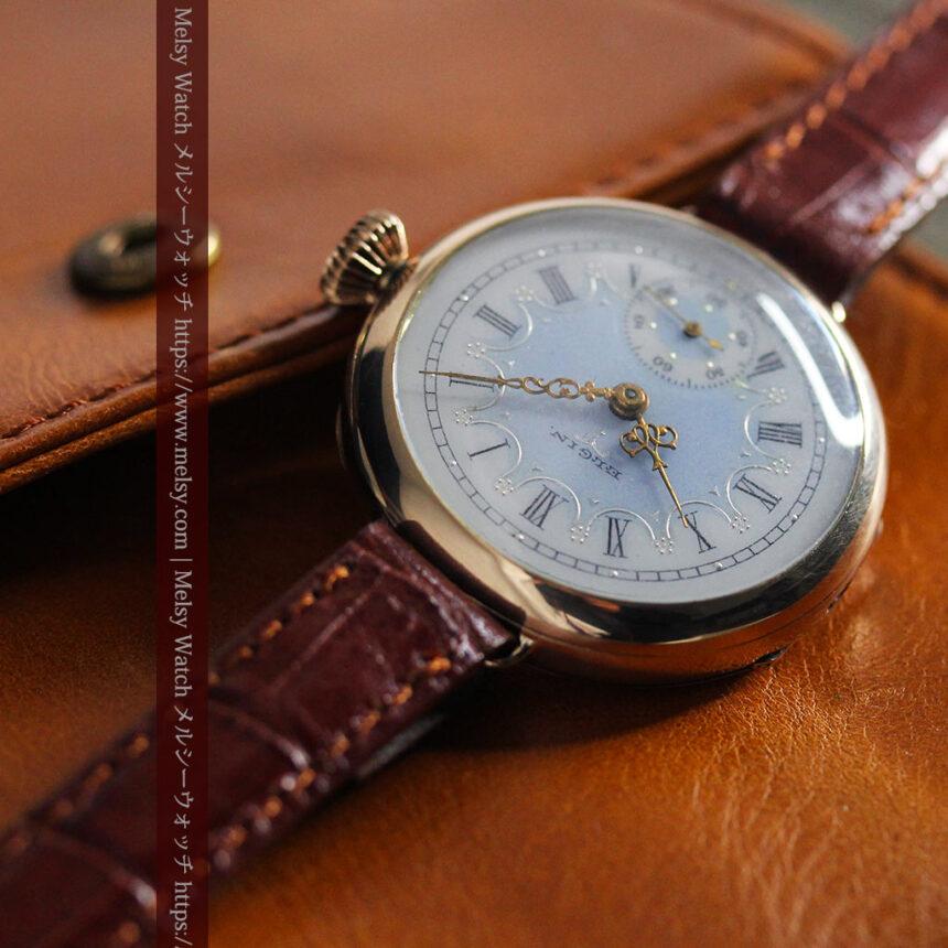 エルジン アンティーク腕時計 趣き深い青と銀の文字盤 【1904年製】-W1475-5