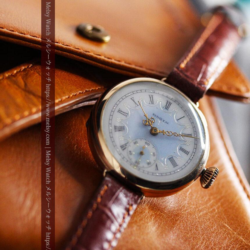 エルジン アンティーク腕時計 趣き深い青と銀の文字盤 【1904年製】-W1475-6