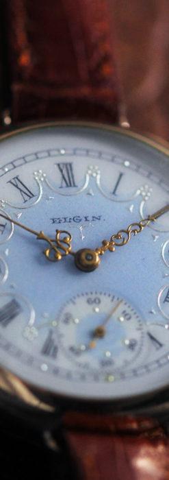 エルジン アンティーク腕時計 趣き深い青と銀の文字盤 【1904年製】-W1475-7