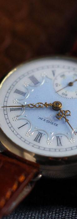 エルジン アンティーク腕時計 趣き深い青と銀の文字盤 【1904年製】-W1475-8