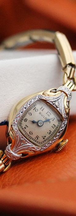 ブローバの金銀2色の装飾際立つ女性用アンティーク腕時計 【1942年製】-W1477-1
