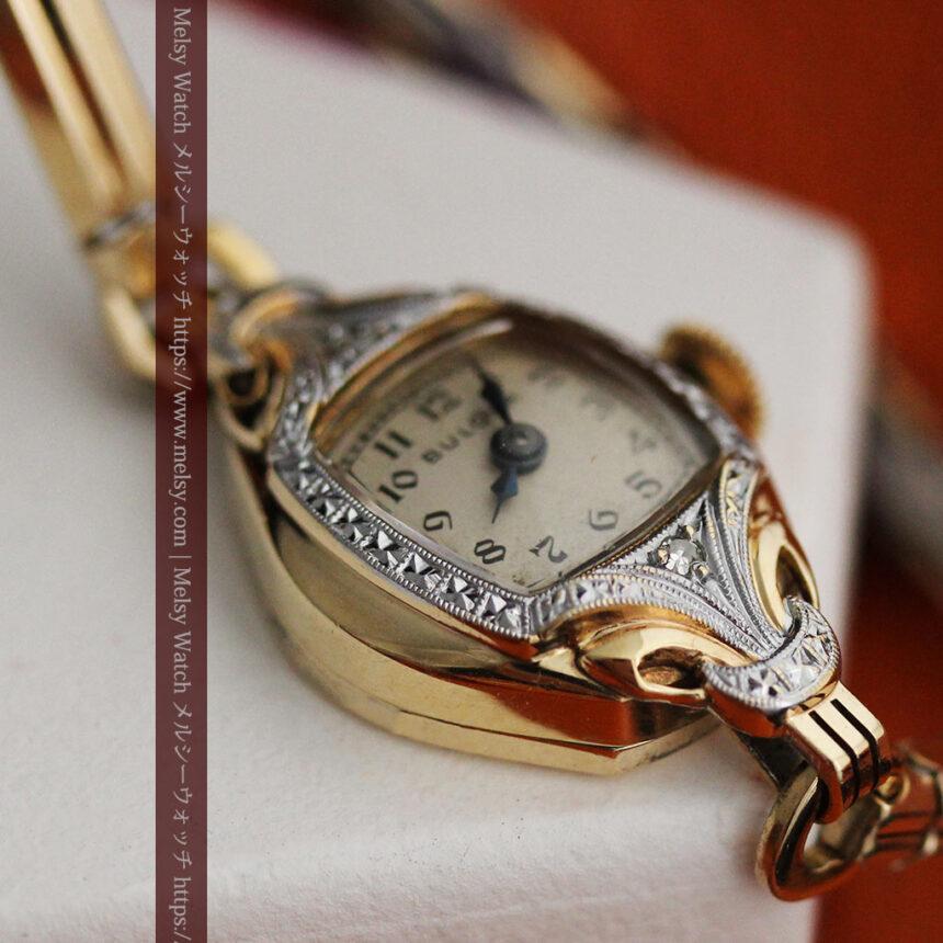 ブローバの金銀2色の装飾際立つ女性用アンティーク腕時計 【1942年製】-W1477-10