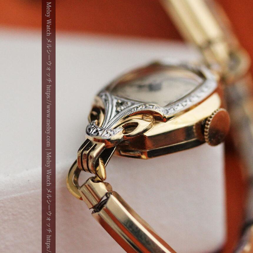 ブローバの金銀2色の装飾際立つ女性用アンティーク腕時計 【1942年製】-W1477-11