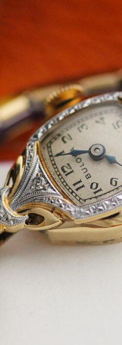 ブローバの金銀2色の装飾際立つ女性用アンティーク腕時計 【1942年製】-W1477-2