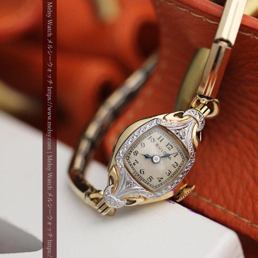 ブローバの金銀2色の装飾際立つ女性用アンティーク腕時計 【1942年製】-W1477-3