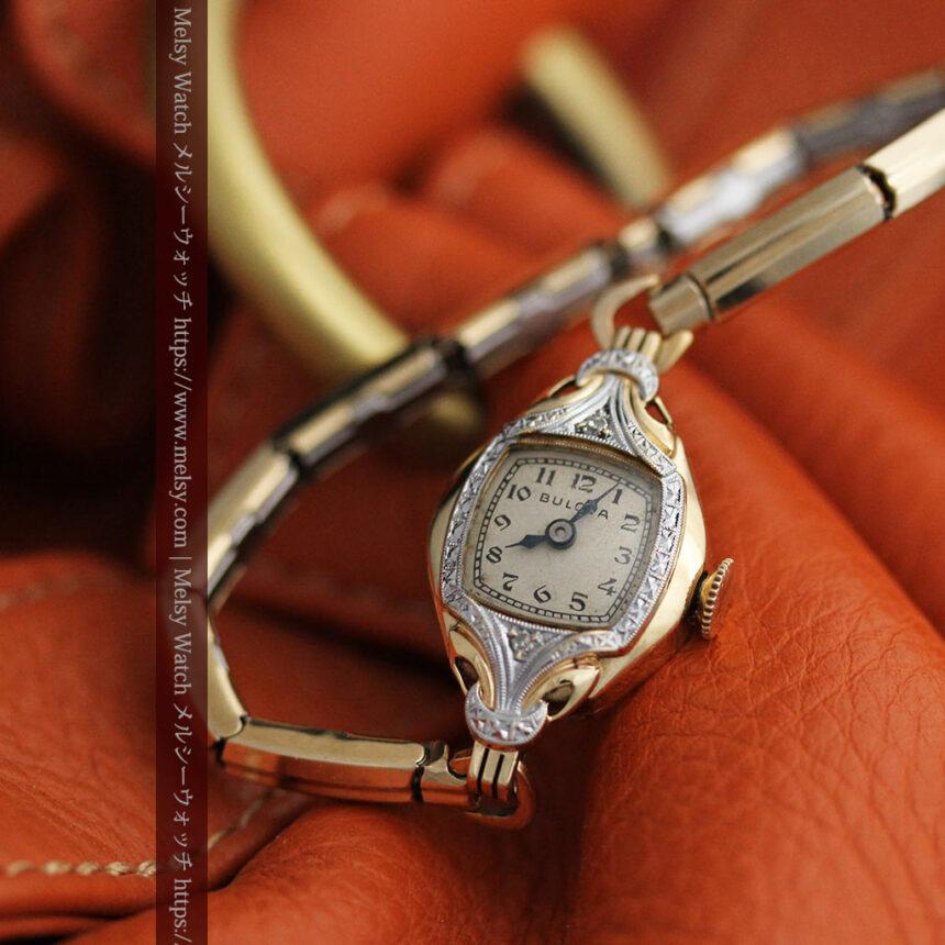 ブローバの金銀2色の装飾際立つ女性用アンティーク腕時計 【1942年製】-W1477-4