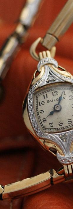 ブローバの金銀2色の装飾際立つ女性用アンティーク腕時計 【1942年製】-W1477-5