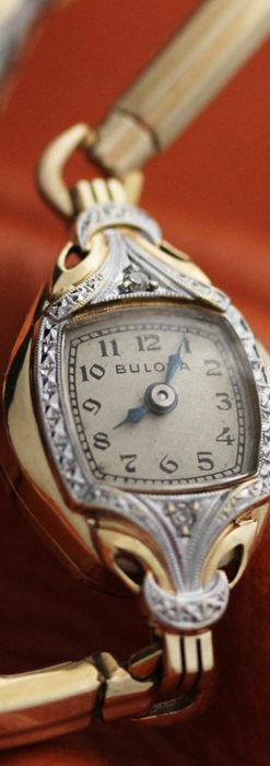 ブローバの金銀2色の装飾際立つ女性用アンティーク腕時計 【1942年製】-W1477-6