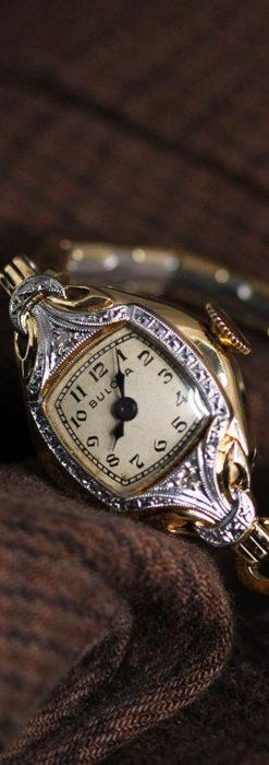 ブローバの金銀2色の装飾際立つ女性用アンティーク腕時計 【1942年製】-W1477-8