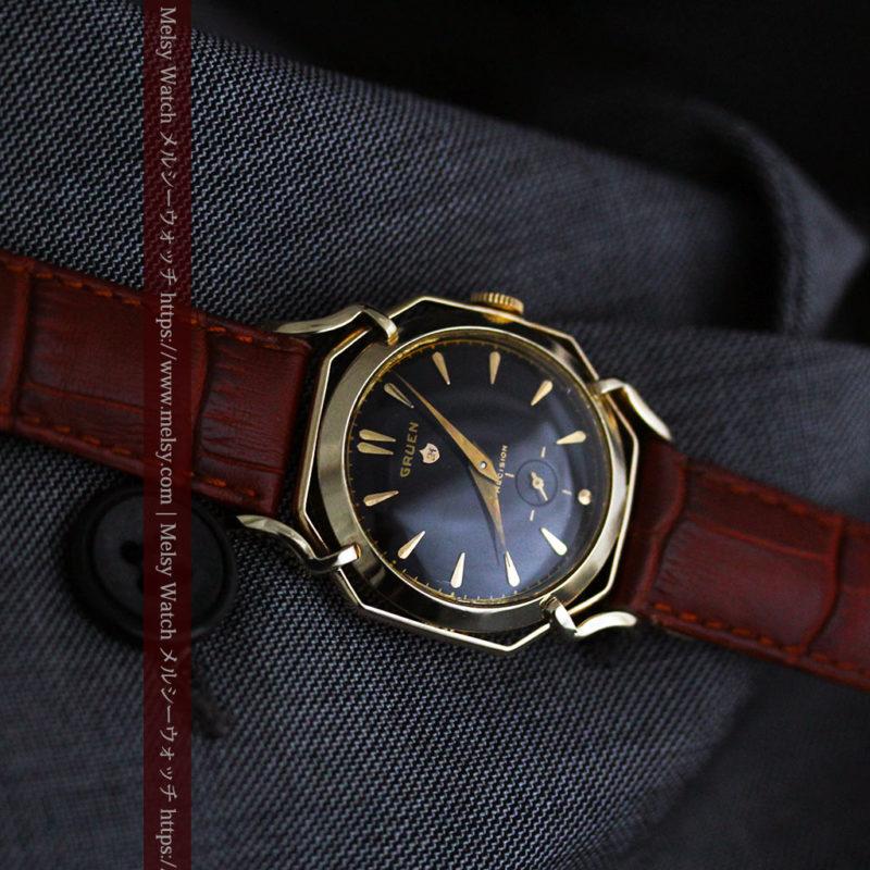 グリュエン アンティーク腕時計 蜘蛛・黒文字盤 【1950年頃】-W1478-1