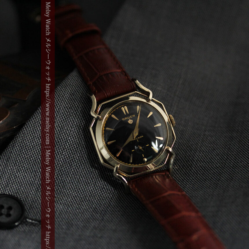 グリュエン アンティーク腕時計 蜘蛛・黒文字盤 【1950年頃】-W1478-10