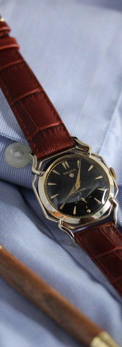 グリュエン アンティーク腕時計 蜘蛛・黒文字盤 【1950年頃】-W1478-11