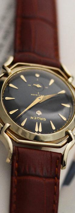 グリュエン アンティーク腕時計 蜘蛛・黒文字盤 【1950年頃】-W1478-12