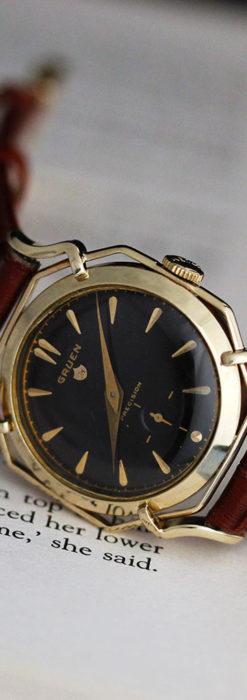 グリュエン アンティーク腕時計 蜘蛛・黒文字盤 【1950年頃】-W1478-13