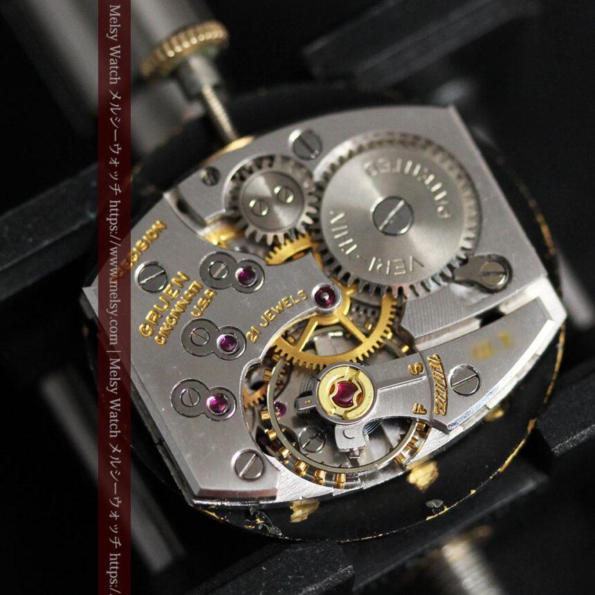グリュエン アンティーク腕時計 蜘蛛・黒文字盤 【1950年頃】-W1478-17