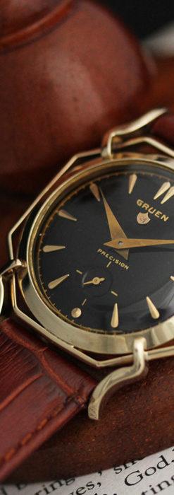 グリュエン アンティーク腕時計 蜘蛛・黒文字盤 【1950年頃】-W1478-2