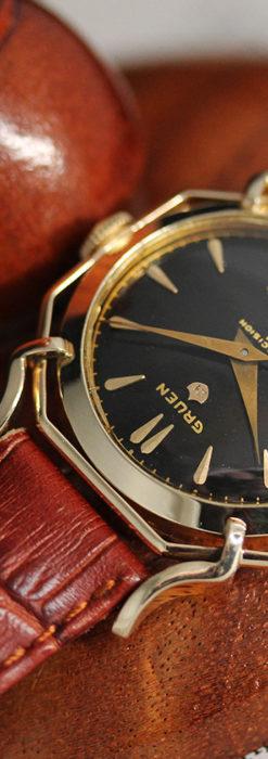 グリュエン アンティーク腕時計 蜘蛛・黒文字盤 【1950年頃】-W1478-3