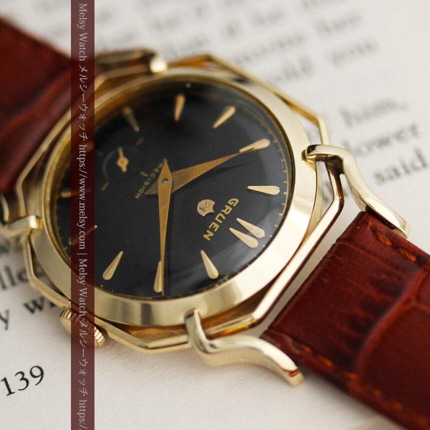 グリュエン アンティーク腕時計 蜘蛛・黒文字盤 【1950年頃】-W1478-4