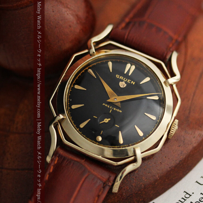 グリュエン アンティーク腕時計 蜘蛛・黒文字盤 【1950年頃】-W1478-5