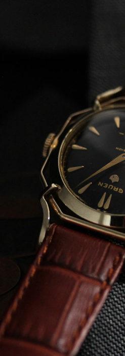 グリュエン アンティーク腕時計 蜘蛛・黒文字盤 【1950年頃】-W1478-6