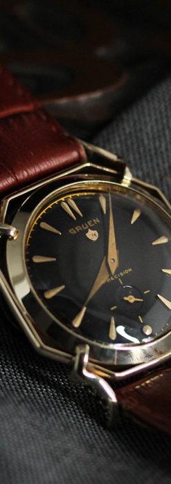 グリュエン アンティーク腕時計 蜘蛛・黒文字盤 【1950年頃】-W1478-7