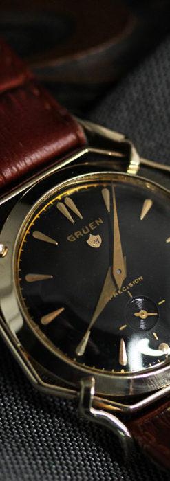 グリュエン アンティーク腕時計 蜘蛛・黒文字盤 【1950年頃】-W1478-8