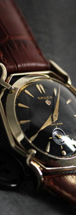 グリュエン アンティーク腕時計 蜘蛛・黒文字盤 【1950年頃】-W1478-9