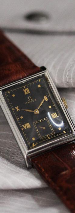 オメガ アンティーク腕時計 上品な黒と金のコントラスト 【1943年製】-W1481-11